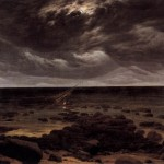 Meeresküste bei Mondschein /  Seashore by Moonlight. Work is public domain and from Wiki Commons.