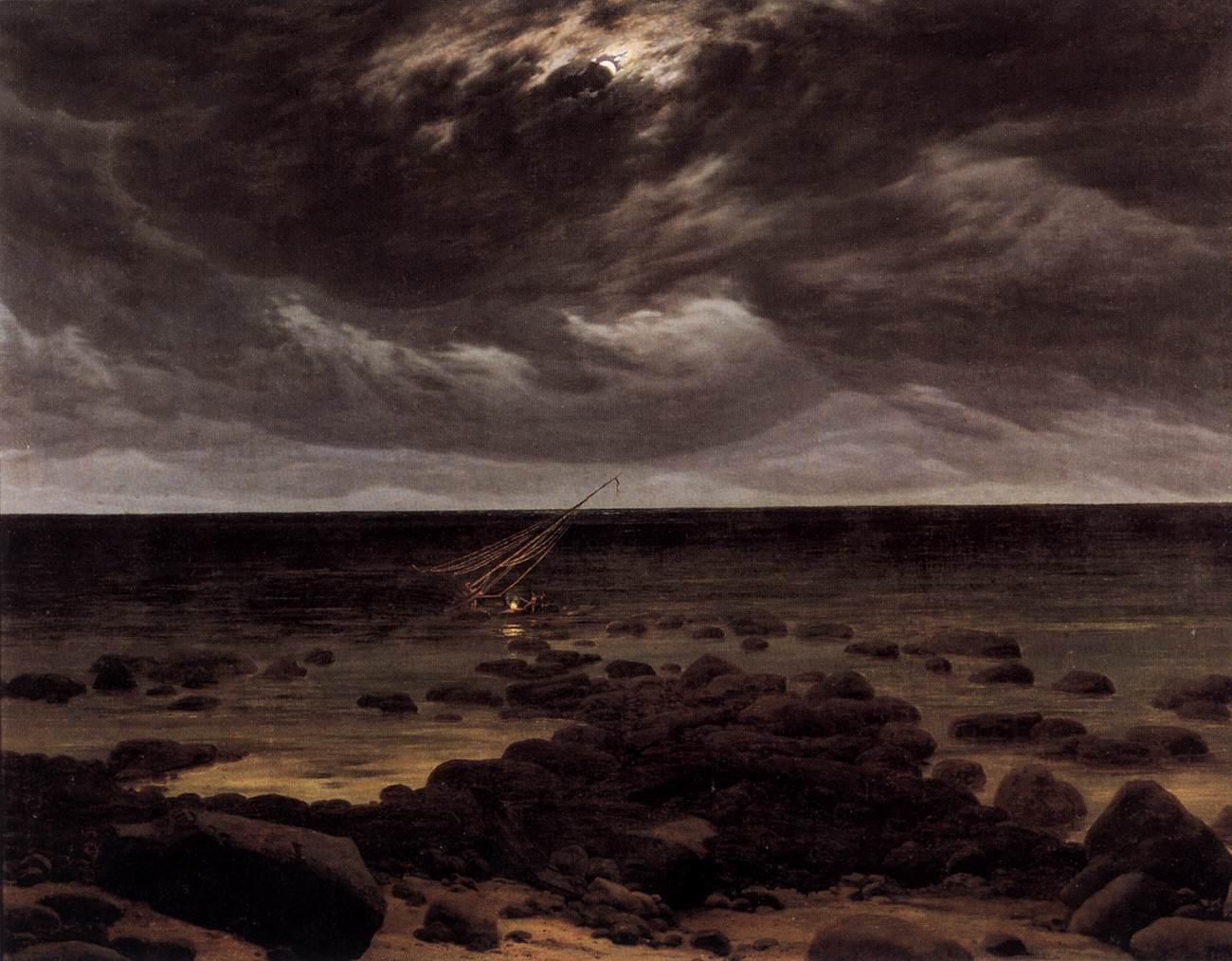 Meeresküste bei Mondschein /  Seashore by Moonlight. Work is public domain and from Wiki Commons.