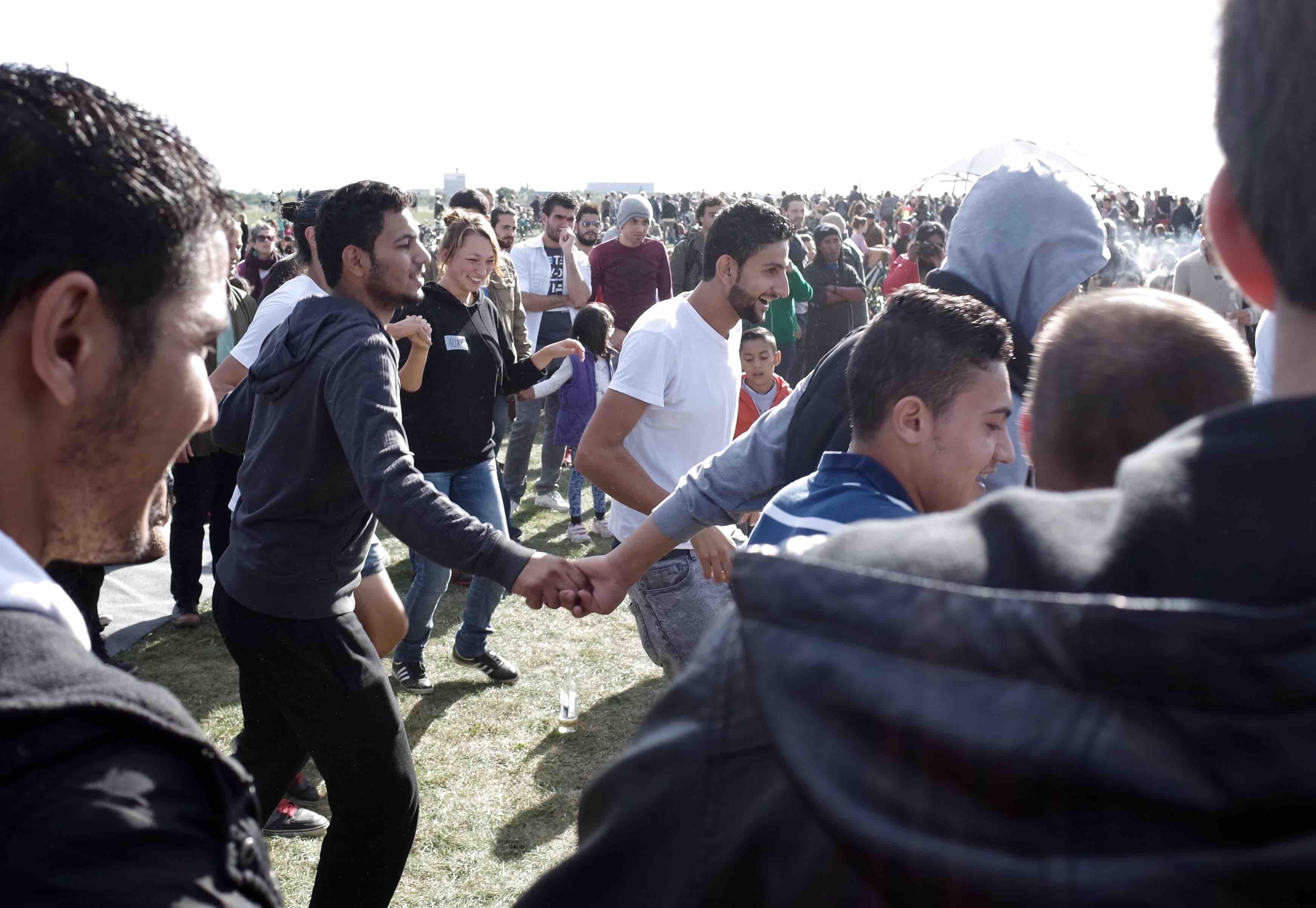 Refugees at Berlin Tempelhof