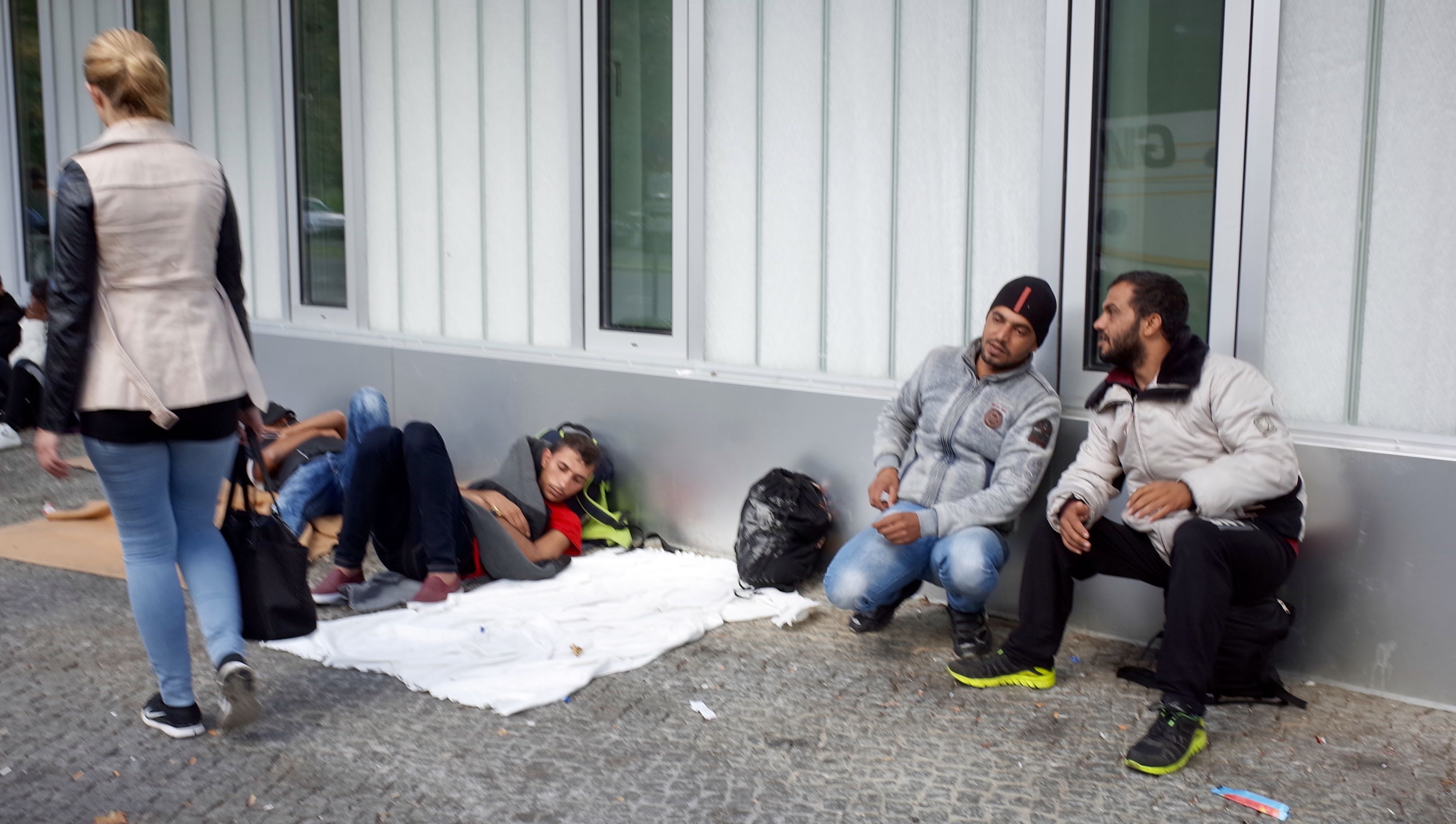 Refugees Sleeping on the Street Waiting to Be Registered in Berlin